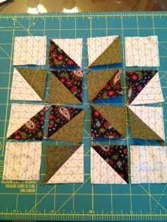 """Barrister's Block: Sunday Bonus Block--We are making a modified Lemoyne Star. NO set-in seams! WOOHOO. Once you have it pieced and pressed, you'll never know the difference. No quilt police here.   Background:   Cut (4) 2"""" squares (corners)   Background:   Cut (4) 2-1/2"""" squares (for hsts, 1-1/2"""" fin) Medium:        Cut  (4) 2-1/2"""" squares  Dark:            Cut  (4) 2-1/2"""" squares   You are making 12 hsts (2"""" unfin, 1-1/2"""" fin): 4: background/dark 4: background/medium 4: dark/medium"""