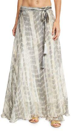Flora Bella Sandals Tie-Dye Silk Maxi Skirt, Brown  https://api.shopstyle.com/action/apiVisitRetailer?id=609863942&pid=uid2500-37484350-28