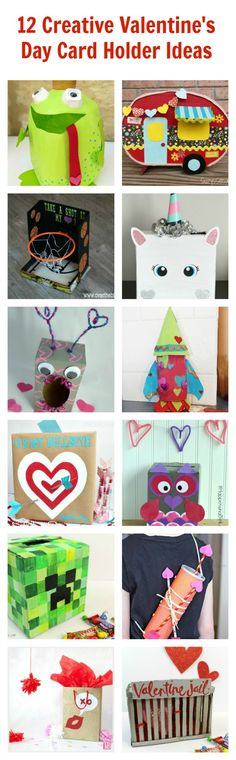 12 Creative Valentine's Day Card Box Holder Ideas! Super cute ideas for both boys and girls using cardboard boxes, milk jugs, etc. #plaidcrafts