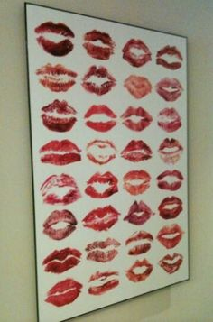 Bachelorette party kiss board. You can number them, and have the ladies guess whose lip print is whose.