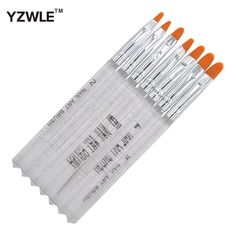 YZWLE 7 Pcs/Pack Clear Handle Nail Brushes Acrylic UV Gel Nail Art Tips Painting Brush Pen Builder Handle Tool 22