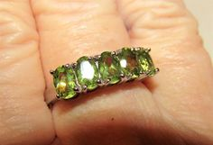 Estate Vintage ~ 2 TCW 5 Green Oval Natural Peridots 925 Sterling Silver Ring 8 #FiveStone