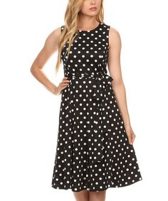 This Black & White Polka Dot A-Line Dress is perfect! #zulilyfinds