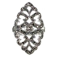 Luxe Sterling Silver Vintage Style Marcasite Ring