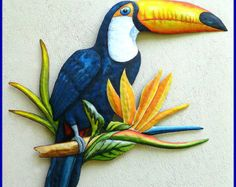Hand Painted Toucan, Metal Art, Tropical Wall Decor - Painted Metal Parrot Wall Hanging, Tropical Home Decor - Metal Wall Art - by TropicAccents on Etsy Art Tropical, Design Tropical, Tropical Wall Decor, Tropical Colors, Tropical Birds, Tropical Interior, Tropical Furniture, Tropical Paradise, Metal Tree Wall Art