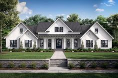 Family House Plans, Ranch House Plans, New House Plans, Modern Farmhouse Exterior, Farmhouse Style, Farmhouse Home Plans, Farmhouse Architecture, Farmhouse Bedrooms, Villa