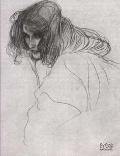"""Gustav Klimt  :: Study for """"Lewdness"""" drawing for the Beethoven frieze, 1902"""