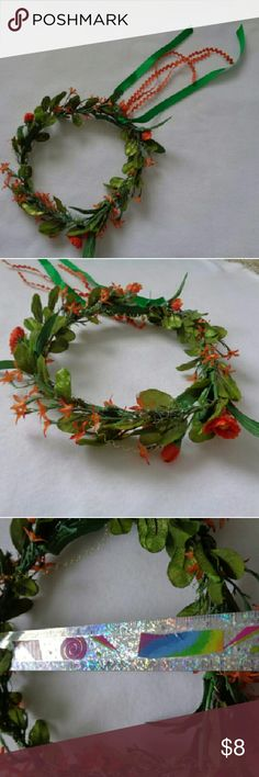 """Orange and Green flower crown Beautiful Orange and Green flower crown. Gold accents on it. Orange and Green ribbon on back. Handmade, never been worn. Approx. 7"""" across. Accessories"""