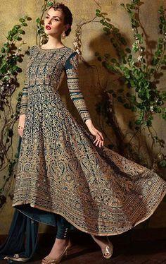 Artistic Cadet Blue Designer Anarkali Salwar Suit