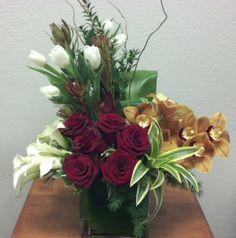 A modern contemporary flower arrangement.
