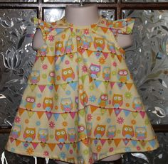 Infant girl summer flutter dress, owl print, baby, beach, yellow, pink, blue, banner, flowers, cotton, handmade, party, - pinned by pin4etsy.com