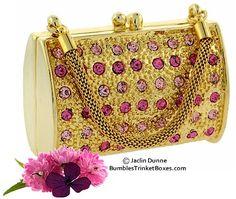 Trinket Box: Rose Crystal Handbag