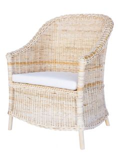 Delilah Wicker Arm Chair, Ivory