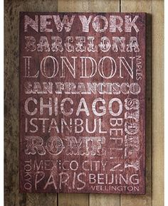 Distressed type cities canvas