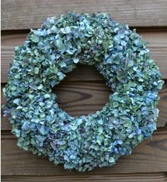 Beautiful blue hydrangea wreath - this would be really easy to make with stems from the florist or even from your own garden,