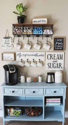 Cute Coffee Station Ideas – Searching for coffee bar ideas? By picking a distinc… Cute Coffee Station Ideas – Searching for coffee bar ideas? By picking a distinct location to position all your coffee making basics you will have the capability to apprecia Kitchen Bar, Bar Furniture, Coffee Bar Home, Old Kitchen, Cozy House, Kitchen Decor, Coffee Cozy, Bars For Home, Home Coffee Stations