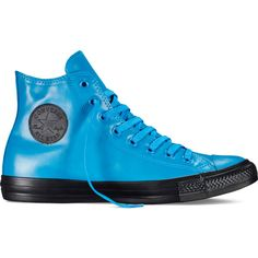 Converse Chuck Taylor All Star Rubber – cyan space/black/black... (28.370 CLP) ❤ liked on Polyvore featuring shoes, sneakers, high-top sneakers, hi tops, black rubber shoes, high top shoes and black shoes