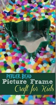 Perler Bead Picture Frame Craft for Kids - This is such a fun, unique, and easy Christmas craft for kids. This makes a great gift for grandparents or parents! Super cute keepsake. (kids activities, craft for kids, preschool, prek, kindergarten, 1st grade, 2nd grade, 3rd grade)