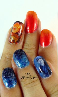 The Year Without A Santa Clause Nail Art - Heat Miser and Snow Miser