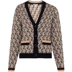 Whistles Diamond Jacquard Cardigan, Multi (14.750 RUB) via Polyvore featuring tops, cardigans, v-neck cardigan, v neck tops, whistles tops, short-sleeve cardigan и print cardigan