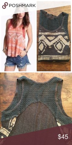 Beautiful printed Free People tank A Gorgeous light and flowy Free People printed tank with crochet detail. Features open sides and a high low silhouette. Looks fabulous with shorts, jeans or leggings! Size M, excellent condition. Free People Tops Tank Tops
