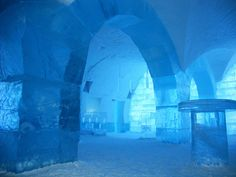 Ice hotel!!! beautiful!!! Yes please...for a drink...um...definitely not sleeping there! (everything from your glass to the chairs to the beds made of ICE!!