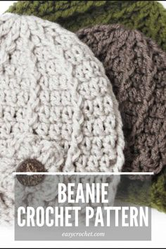 Make this unique beanie with our FREE crochet pattern! Uses easy to find yarn and is so fun to make. via @easycrochetcom Easy Crochet Baby Hat, Crochet Men, Crochet Beanie Pattern, Loom Knitting Patterns, Crochet Fabric, Newborn Crochet, Free Crochet, Crochet Patterns, Crochet Hats
