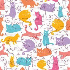 Fondo colorido gatos inconsútil - Ilustración de stock: 14882659