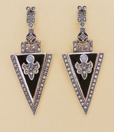 Große Ohrringe, Onyx, Opal, Markasiten, 21 x 54mm, 925 Silber, Jugendstil in Antiquitäten & Kunst, Antikschmuck, Schmuck & Accessoires | eBay