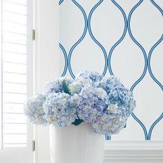 Thibaut Camber 2 Tone Blue On White Simple Geometric Wallpaper - DESIGNER