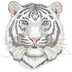 Dakota Collectibles Embroidery Design: White Tiger inches H x inches W Tiger Drawing, Tiger Art, Cute Embroidery, Free Machine Embroidery Designs, Baby Boutique Clothing, Pin And Patches, Animal Drawings, Griffins, Animals