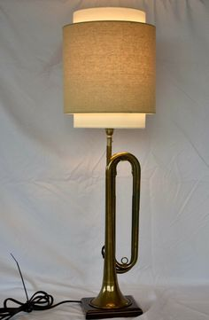 Repurposed/New Vintage Brass Bugle Table Lamp. New Lamp Parts. Ceiling Fan, Ceiling Lights, Port Saint Lucie, Felt Cover, Lamps For Sale, Musical Instruments, Repurposed, Table Lamp, Brass