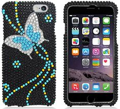 """myLife Black, Blue, and Yellow {Crystal Flying Pretty Butterfly} 2 Piece Snap-On Rubberized Protective Faceplate Case for the NEW iPhone 6 (6G) 6th Generation Phone by Apple, 4.7"""" Screen Version """"All Ports Accessible"""" myLife Brand Products http://www.amazon.com/dp/B00U2YUE7S/ref=cm_sw_r_pi_dp_Vjyhvb0YXKP9J"""