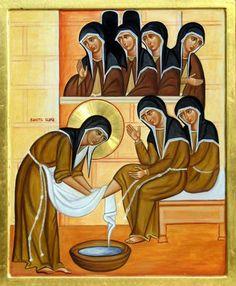 sainte Claire d'Assise reproduisant le geste de Jésus de laver les pieds de ses disciples