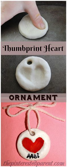 Salt Dough Clay Thumbprint Heart Ornament for Valentine's Day- Clay Fingerprint Keepsake Ornaments for the family - a sweet and easy arts & craft idea and keepsake that the kids or the whole family can make together