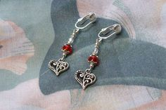 Silver Heart Red Crystal Rondelle Silver Clip on or door hfejewelry