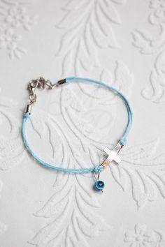 Witness bracelets light ble with cross and evil eye (mati)