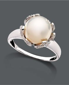 Belle de Mer Pearl Ring, Sterling Silver Cultured Freshwater Pearl (10-11 mm) and Diamond Accent Flower - Rings - Jewelry & Watches - Macy's