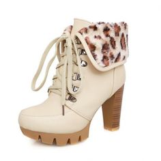 Round Toe Platform Lace-up Closure Foldable Chunky Heels PU Ankle Boots With Fur Ornament