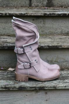 Westward Traveler Taupe Leather Slouch Boots With Biker Buckles