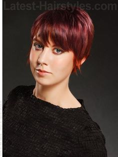 Fire-Pixie. Red is still a color that's hot and on trend going into 2012. Turn up the volume on your sassy haircut with a color to match. This vivid and bright color is sure to spice up your style and certainly is not for the faint of heart. Demand attention with this whimsical cut and fierce red.