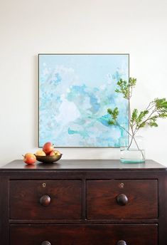 Everyone's Painting Their Own Abstract Art, And You Should Too Kristine of The Painted Hive made this watercolor-style painting with layers of brushing, splashing and spraying paint around. Luckily she's detailed the whole process for us on her blog.