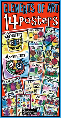 14 Posters - Elements of Art A collection of 14 digital format posters in PDF, illustrating ALL of the ART language in primary school. To help you with your teaching. Posters are homemade and scanned in professional quality. You can print them or put them onto your Interactive Whiteboard. Very colorful. Helps students to understand the concepts of art more easily.