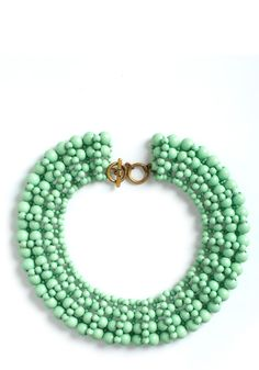 mint beaded collar necklace