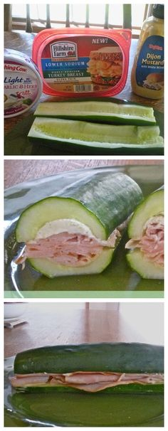 """cucumber1000: Cucumber """"sub"""" sandwich.  Add desired amount of pictured ingredients or create your own version."""