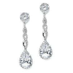 Mariell Opulent Cubic Zirconia CZ Earrings 3653E - gorgeous accessory for your quinceanera!