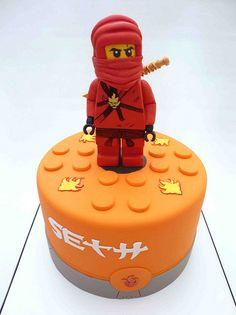 Ninja Lego Cake Idea for Jae :)) Ninja Lego Cake, Lego Ninjago Cake, Ninjago Party, Lego Torte, Bithday Cake, Fondant, Star Wars Cake, Cakes For Boys, Boy Cakes