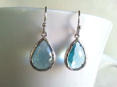 Aquamarine long teardrop Drop Silver Drop Dangle by LaLaCrystal, $23.00