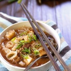 Japanese Eggplant Miso Noodle Soup Recipe Soups with vegetable oil, extra firm tofu, toasted sesame oil, garlic cloves, ginger, japanese eggplants, water, vermicelli, white miso, rice vinegar, soy sauce, scallions, toasted sesame seeds