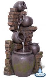 York Cascading Jars Water Feature & Planter with Lights by Ambienté Large Water Features, Water Features In The Garden, Coffee With Friends, Backyard Water Feature, Garden Shrubs, Sight & Sound, Garden Fountains, Dark Shades, Visual Effects